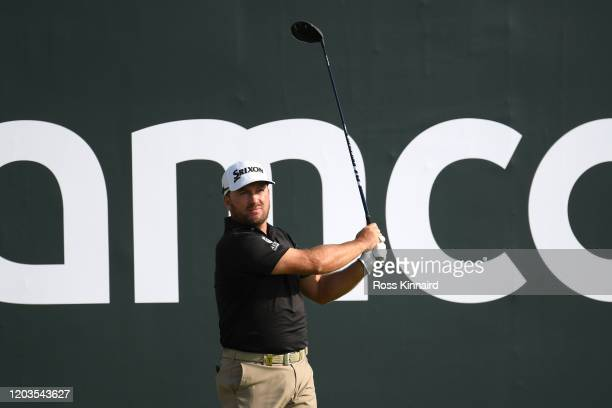 Graeme McDowell of Northern Ireland tees off on the 15th hole during Day 4 of the Saudi International at Royal Greens Golf and Country Club on...