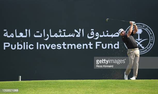 Graeme McDowell of Northern Ireland tees off on the 3rd hole during Day 4 of the Saudi International at Royal Greens Golf and Country Club on...