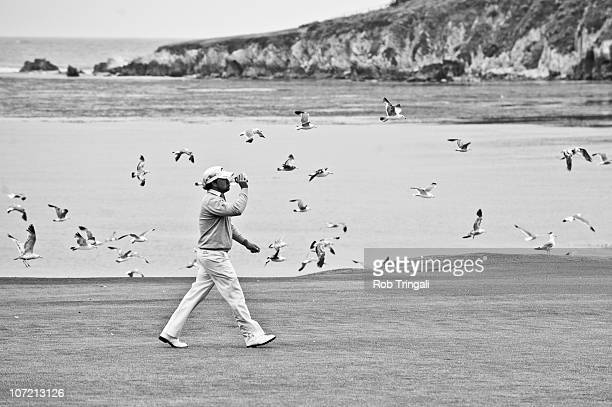 Graeme McDowell of Northern Ireland walks down the 18th hole fairway during the final round of the 110th US Open at Pebble Beach Golf Links on June...