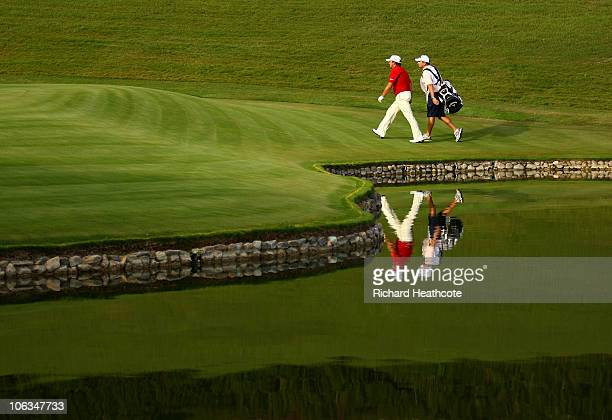 Graeme McDowell of Northern Ireland walks to the 17th green during the second round of the Andalucia Valderrama Masters at Club de Golf Valderrama on...