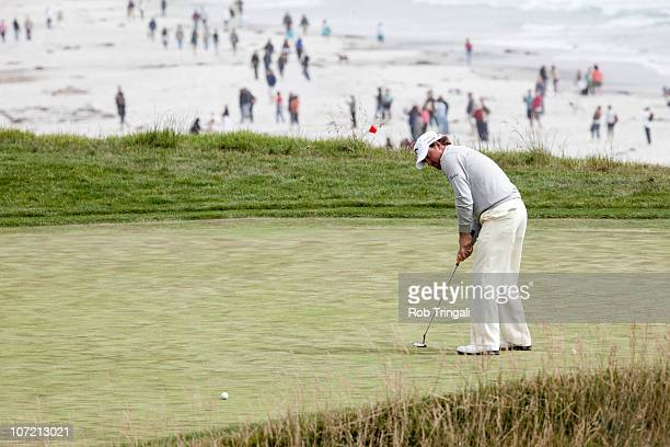 Graeme McDowell of Northern putts on the tenth hole during the final round of the 110th US Open at Pebble Beach Golf Links on June 20 2010 in Pebble...