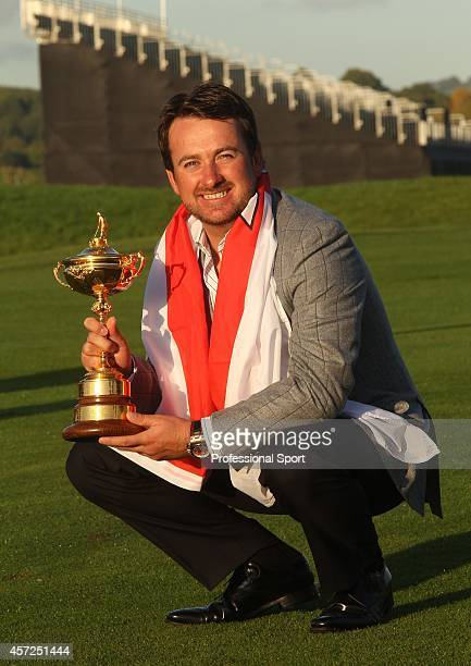 Graeme McDowell with the Ryder Cup Trophy after the team wins the 38th Ryder Cup at the Twenty Ten Course at Celtic Manor in Newport Wales on Monday...