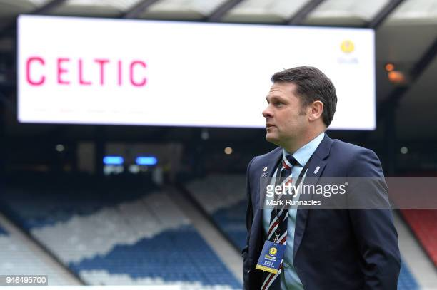 Graeme Murty Manager of Rangers inspects the pitch prior to the Scottish Cup Semi Final match between Rangers and Celtic at Hampden Park on April 15...