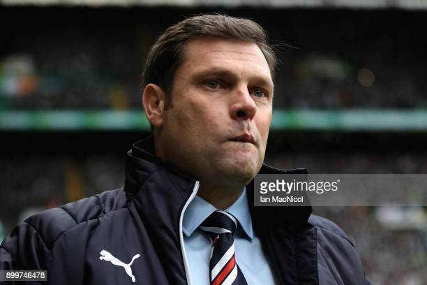 Graeme Murty Manager of Rangers looks on prior to the Scottish Premier League match between Celtic and Rangers at Celtic Park on December 30 2017 in...