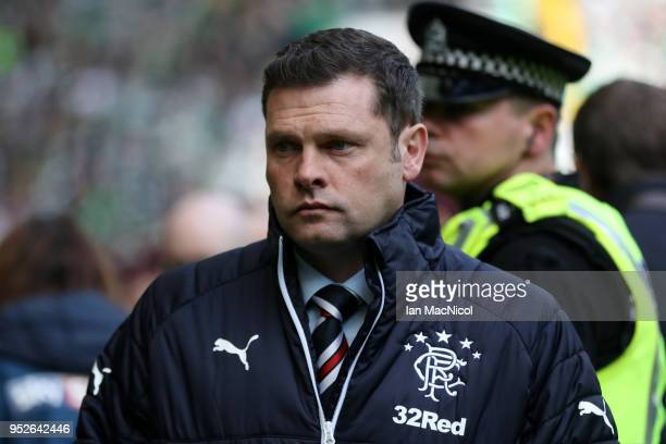 Graeme Murty Manager of Rangers looks on prior to the Scottish Premier League match between Celtic and Rangers at Celtic Park on April 29 2018 in...