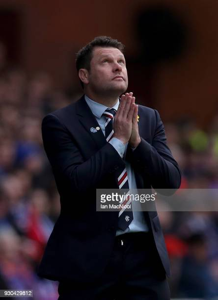 Graeme Murty Manager of Rangers reacts during the Ladbrokes Scottish Premiership match between Rangers and Celtic at Ibrox Stadium on March 11 2018...