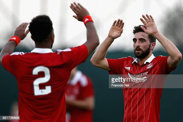Graeme Shinnie of Aberdeen FC celebrates after scoring his teams second goal during the friendly match between Aberdeen FC and FC Bunyodkor at the...