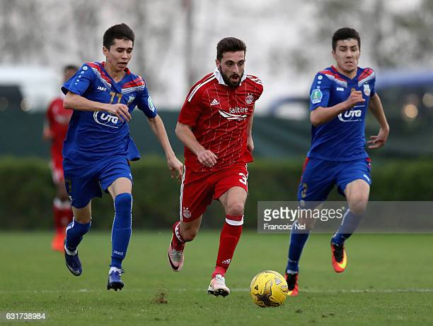 Graeme Shinnie of Aberdeen FC in action during the friendly match between Aberdeen FC and FC Bunyodkor at the Jebel Ali Centre of Excellence on...