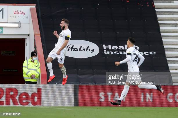 Graeme Shinnie of Derby County celebrates after he scores a goal to make it 10 during the Sky Bet Championship match between AFC Bournemouth and...