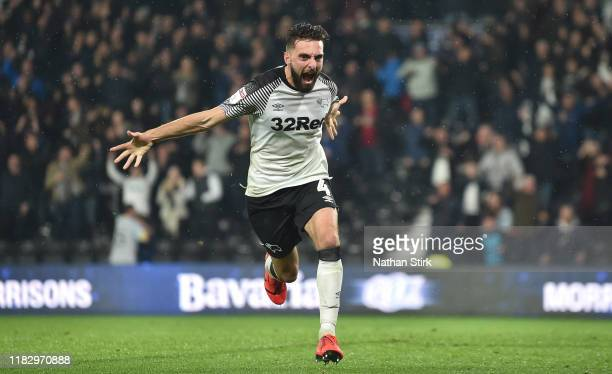 Graeme Shinnie of Derby County celebrates after he scores the first goal during the Sky Bet Championship match between Derby County and Wigan...