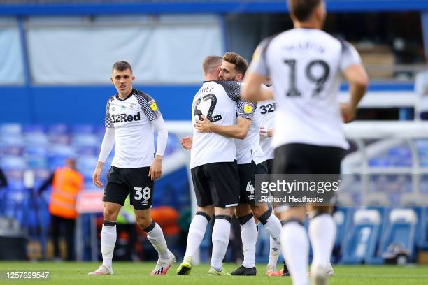 Graeme Shinnie of Derby County celebrates with teammates after scoring his team's first goal during the Sky Bet Championship match between Birmingham...