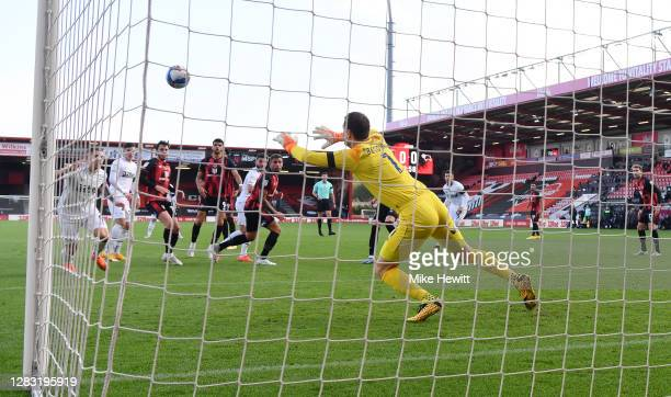 Graeme Shinnie of Derby County scores his team's first goal past Asmir Begovic of AFC Bournemouth during the Sky Bet Championship match between AFC...