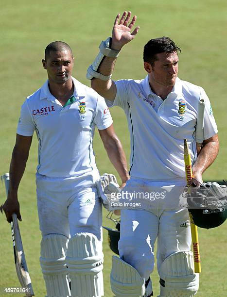 Graeme Smith and Alviro Petersen of South Africa celebrate after the series win during day 5 of the 2nd Test match between South Africa and India at...