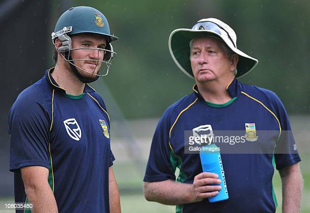 Graeme Smith and coach Duncan Fletcher attend the South Africa national cricket team nets session at Bidvest Wanderers Stadium on January 14, 2011 in...