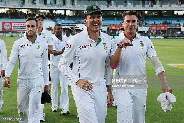 Graeme Smith and Dale Steyn of South Africa celebrate after winning the game during day four of the Second Test match between South Africa and...