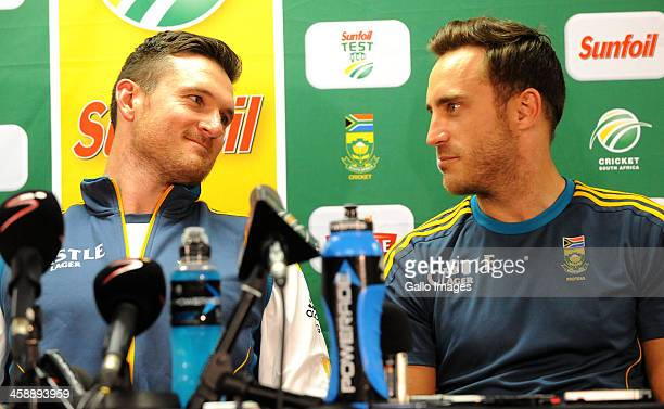 Graeme Smith and Faf du Plessis of South Africa during day 5 of the 1st Test match between South Africa and India at Bidvest Wanderers Stadium on...