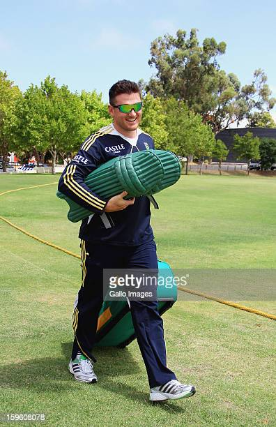 Graeme Smith arrives at the South African national cricket team nets session and press conference at Claremont Cricket Club on January 17 2013 in...