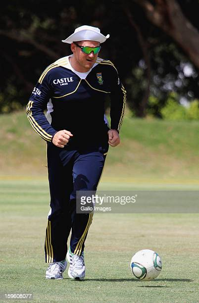 Graeme Smith attends during the South African national cricket team nets session and press conference at Claremont Cricket Club on January 17 2013 in...