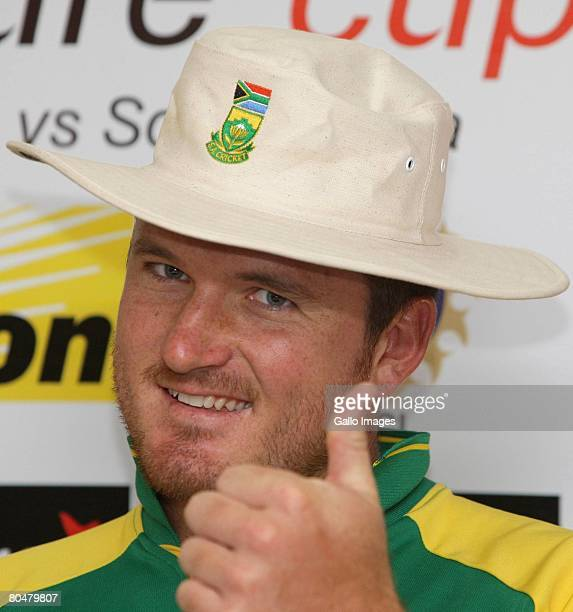 Graeme Smith attends the South Africa press conference at the Sardar Patel Stadium on April 2 2008 in Ahmedabad India
