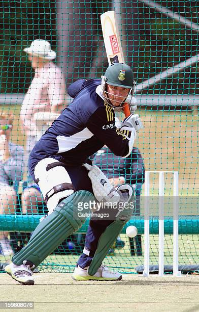 Graeme Smith bats during the South African national cricket team nets session and press conference at Claremont Cricket Club on January 17 2013 in...