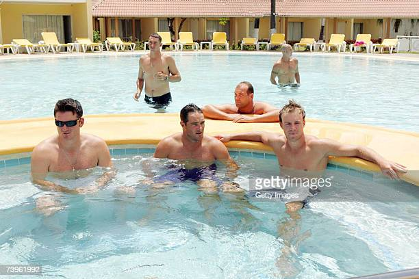 Graeme Smith Mark Boucher and AB de Villiersduring the South Africa South Africa Nets session in the pool at Rodney Bay in GrosIslet Saint Lucia in...