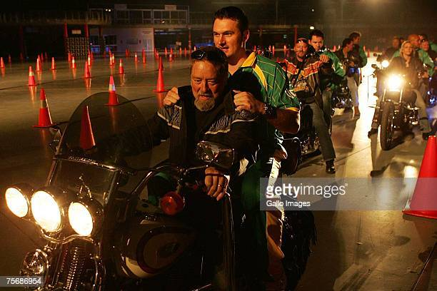 Graeme Smith o00n a Harley Davidson during the ICC 20/20 World Cup launch held at the Dome on July 26 2007 in Northgate Johannesburg South Africa