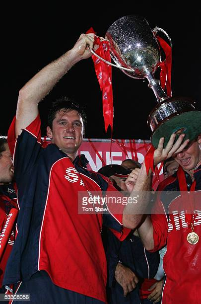 Graeme Smith of Somerset celebrates with the trophy and the rest of the team during the Twenty20 Final match between Somerset and Lancashire at the...