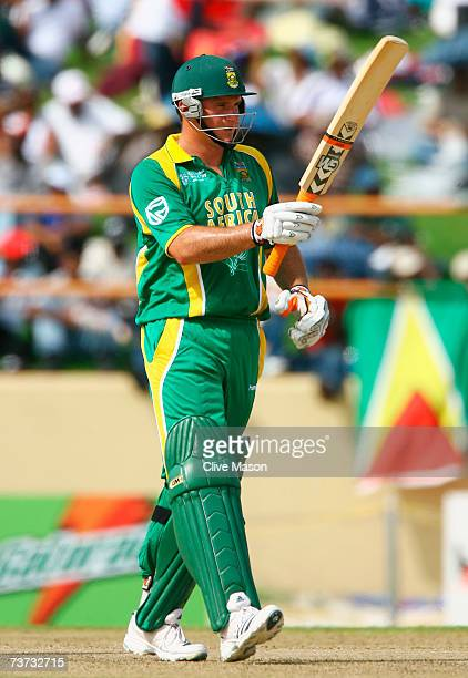 Graeme Smith of South Africa acknowledges his half century during the ICC Cricket World Cup Super Eights match between South Africa and Sri Lanka at...