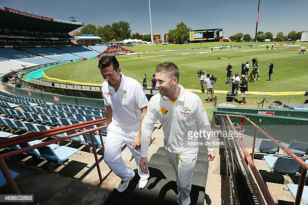 Graeme Smith of South Africa and Michael Clarke of Australia talk during a media session at Centurion Park on February 11 2014 in Centurion South...