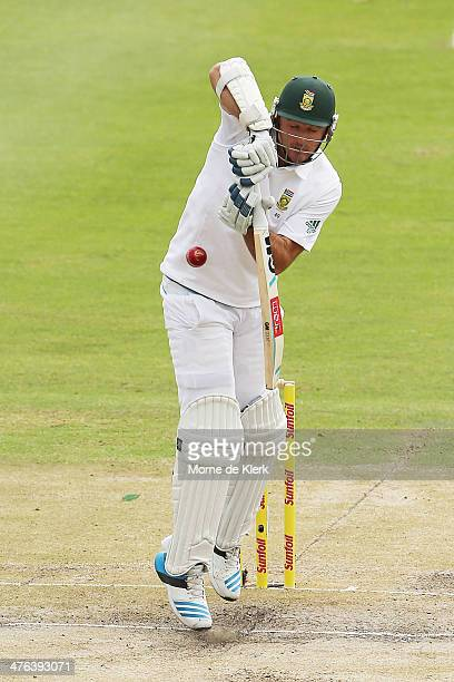 Graeme Smith of South Africa bats during day 3 of the third test match between South Africa and Australia at Sahara Park Newlands on March 3 2014 in...