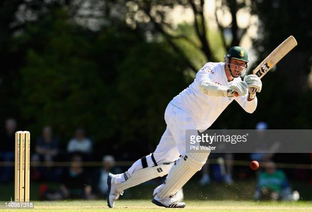 Graeme Smith of South Africa bats during day three of the First Test match between New Zealand and South Africa at the University Oval on March 09,...