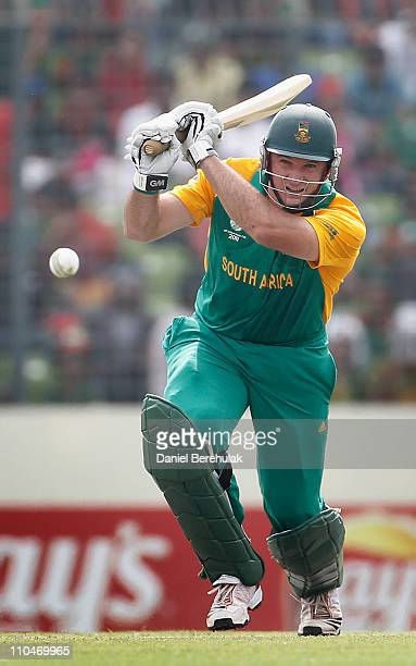 Graeme Smith of South Africa bats during the ICC World Cup Cricket Group B match between Bangladesh and South Africa at ShereeBangla National Stadium...