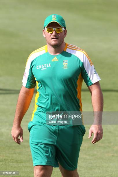 Graeme Smith of South Africa bowls during a team training session at Sahara Park Newlands on October 10 2011 in Cape Town South Africa