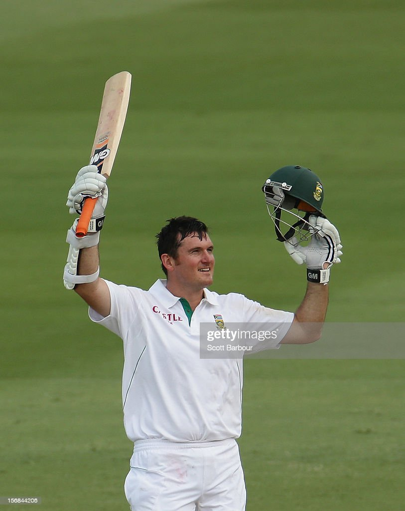 Graeme Smith of South Africa celebrates as he reaches his century on during day two of the Second Test match between Australia and South Africa at Adelaide Oval on November 23, 2012 in Adelaide, Australia.