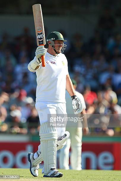 Graeme Smith of South Africa celebrates his half century during day two of the Third Test Match between Australia and South Africa at WACA on...