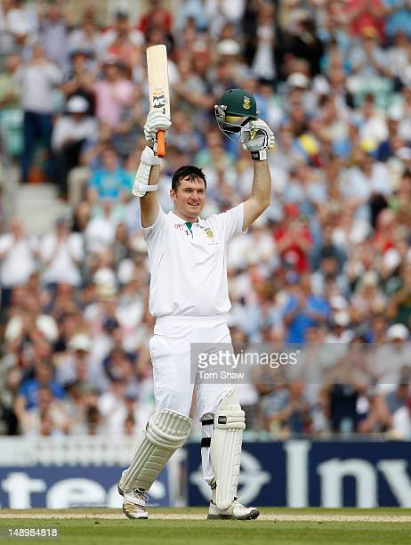 Graeme Smith of South Africa celebrates reaching his century during day 3 of the 1st Investec Test Match between England and South Africa at The Kia...