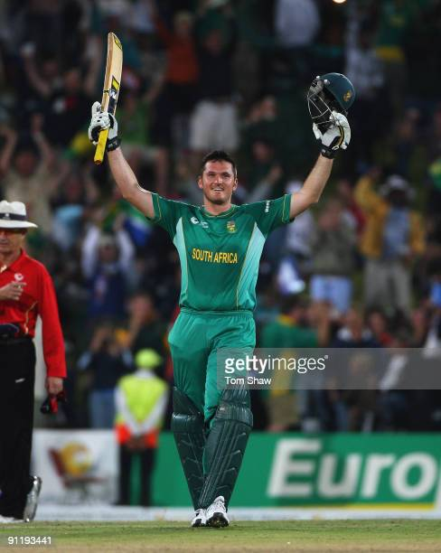 Graeme Smith of South Africa celebrates reaching his century during the ICC Champions Trophy group B match between South Africa and England at...