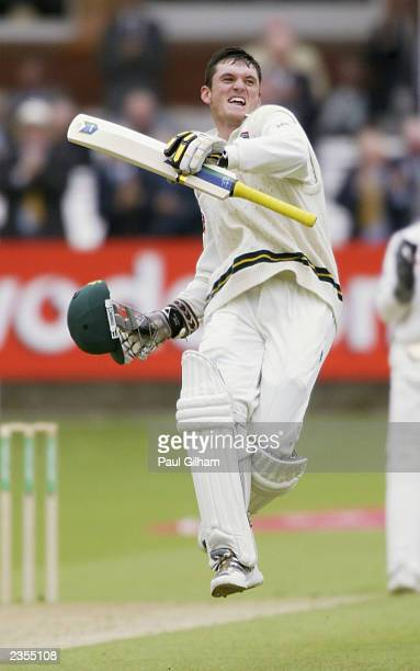 Graeme Smith of South Africa celebrates scoring a double century during the second day of the second npower test match between England and South...