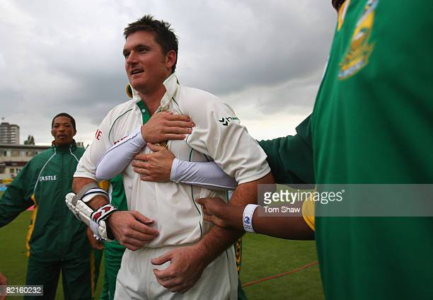 Graeme Smith of South Africa celebrates winning the test match with teammates during day four of the 3rd Test Npower Test Match between England and...