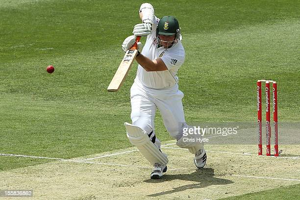 Graeme Smith of South Africa during day one of the First Test match between Australia and South Africa at The Gabba on November 9 2012 in Brisbane...