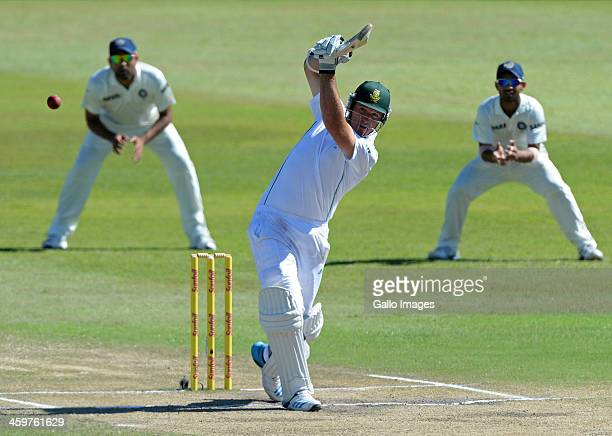 Graeme Smith of South Africa hits a boundary during day 5 of the 2nd Test match between South Africa and India at Sahara Stadium Kingsmead on...