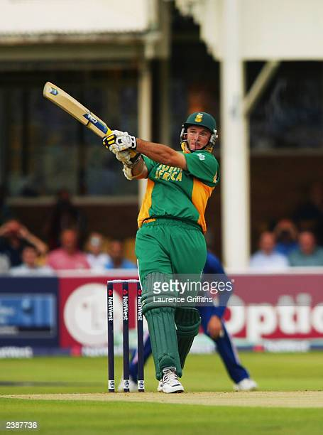 Graeme Smith of South Africa hits a boundary during the NatWest one day triangular series match between England and South Africa held on July 8 2003...