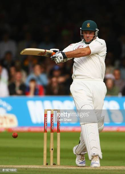 Graeme Smith of South Africa hits out during day four of the First Test match between England and South Africa at Lord's Cricket Ground on July 13...