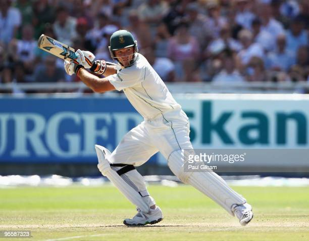 Graeme Smith of South Africa hits out during day three of the third test match between South Africa and England at Newlands Cricket Ground on January...