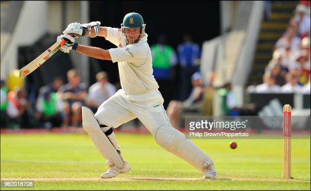 Graeme Smith of South Africa hits out during his innings of 154 not out in the 3rd Test match between England and South Africa at Edgbaston...