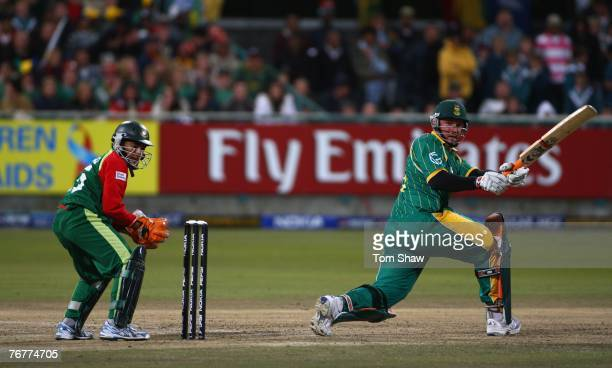 Graeme Smith of South Africa hits out during the ICC Twenty20 World Championship match between South Africa and Bangladesh at Newlands Cricket Ground...