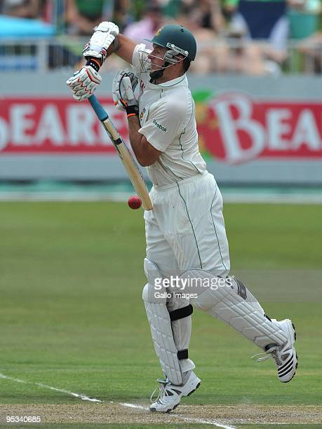 Graeme Smith of South Africa is hit on the finger by a delivery from James Anderson of England during day 1 of the 2nd test match between South...