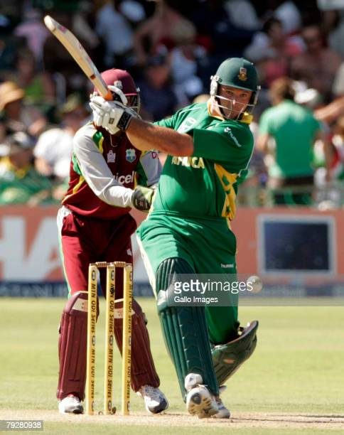 Graeme Smith of South Africa plays a shot as keeper Denesh Ramdin looks on during the 3rd ODI between South Africa and West Indies held at Sahara...
