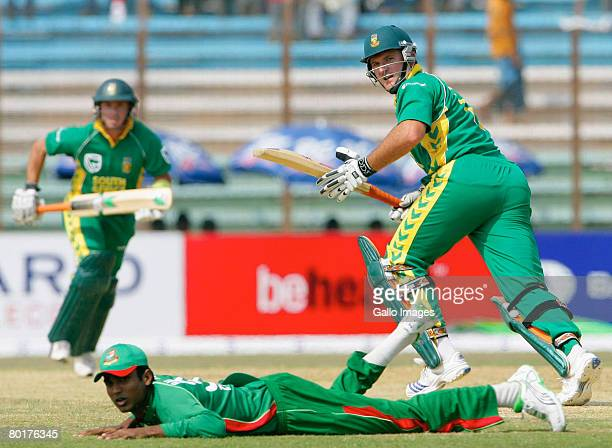 Graeme Smith of South Africa plays a shot through the slips during the 1st One Day International match between Bangladesh and South Africa held at...