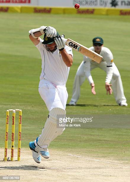 Graeme Smith of South Africa plays a shot to get out against Mitchell Johnson of Australia during day two of the First Test match between South...